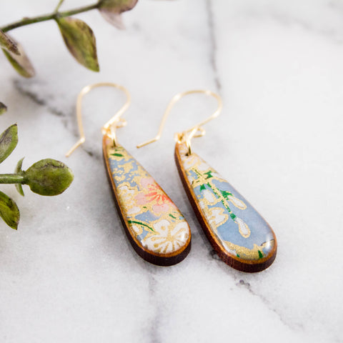 Petite Light Blue Floral Teardrop Earrings