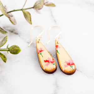 Petite Gold + Pink Floral Teardrop Earrings