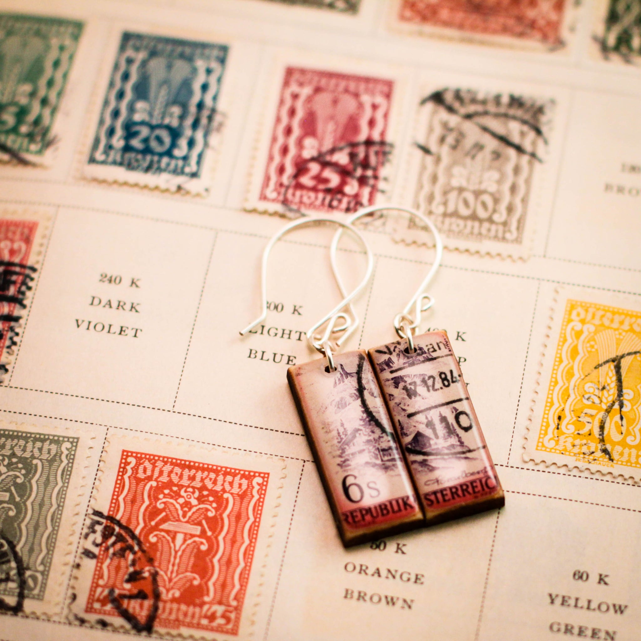 AUSTRIA- Vintage Postage Stamp Lavender + Pink Earrings