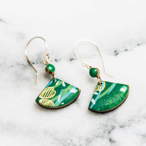 Bright Green + Gold Fan Earrings