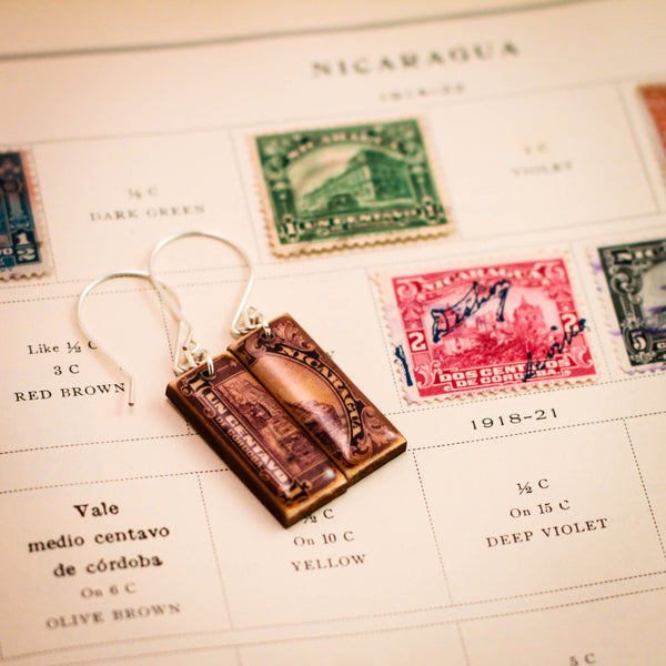 NICARAGUA- Antique Postage Stamp Purple Earrings