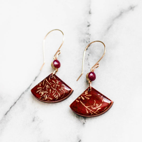 Crimson + Gold Fan Earrings
