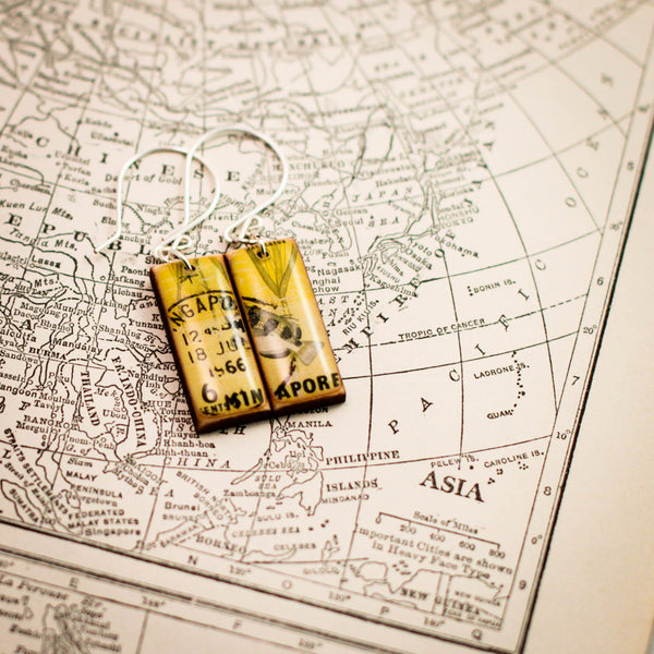 SINGAPORE- Vintage Postage Stamp Yellow Fish Earrings