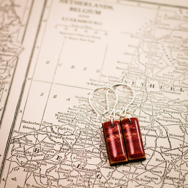 NETHERLANDS- Vintage Postage Stamp Red Wheat Earrings