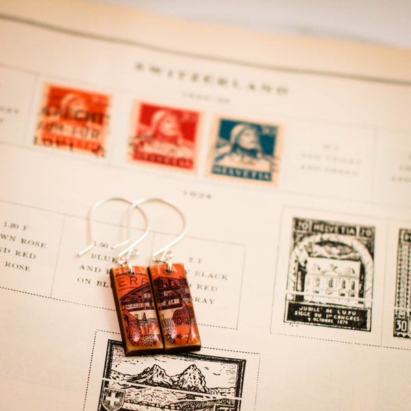 SWITZERLAND- Vintage Postage Stamp Coral Chalet Earrings