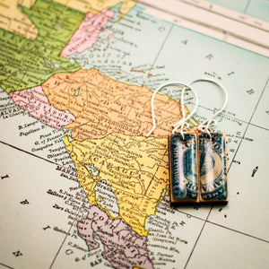 EL SALVADOR- Antique Postage Stamp Deep Blue Earrings