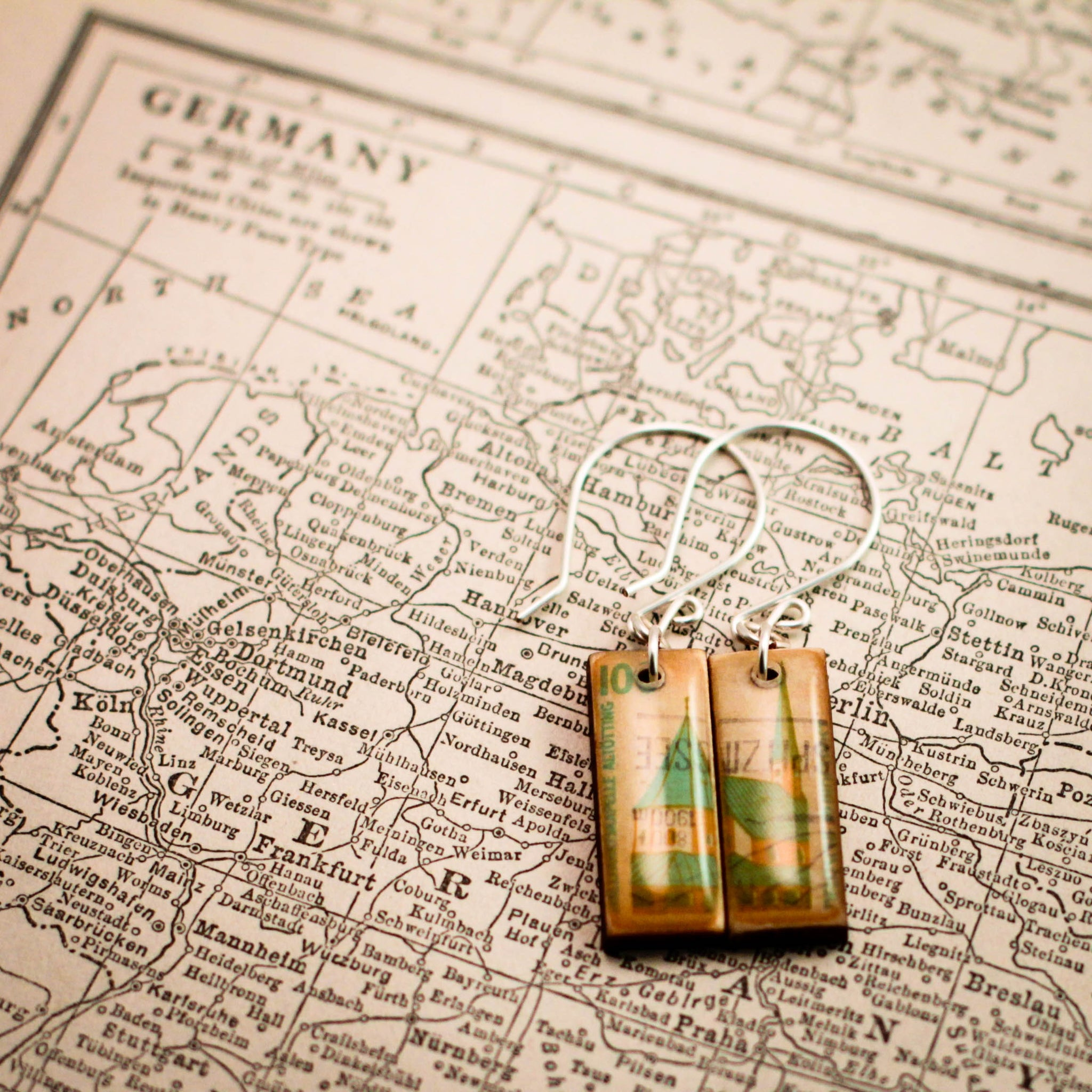 GERMANY- Vintage Postage Stamp Castle Earrings