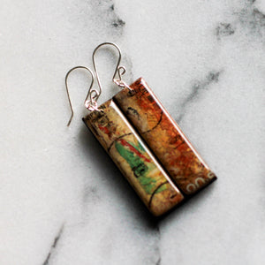JAPAN- Vintage Postage Stamp Watercolor Painting Earrings