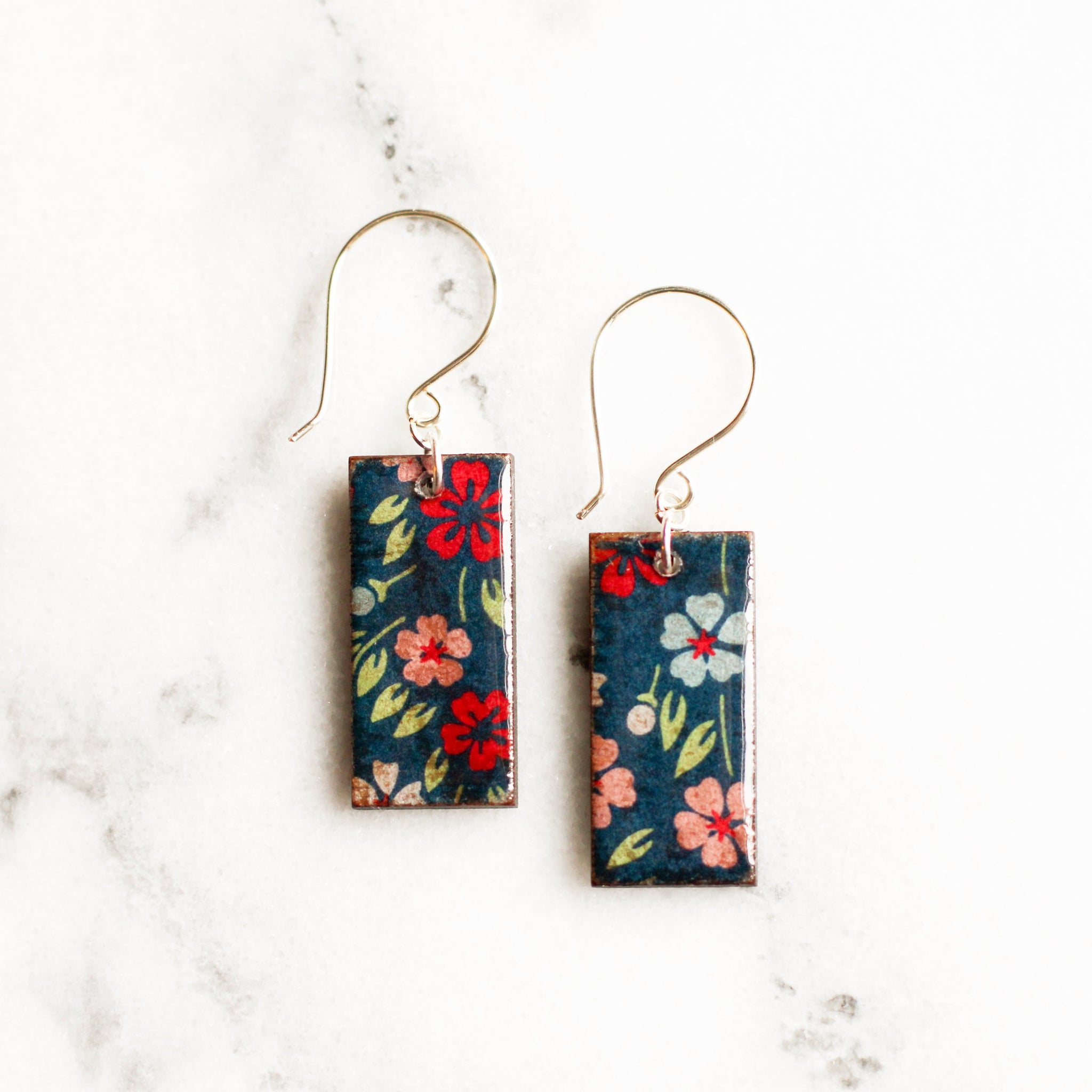 Navy Floral Japanese Paper and Wood Earrings - No Man's Land Artifacts