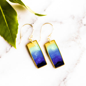 Lagoon Brass Rectangle Earrings - No Man's Land Artifacts