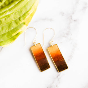 Autumn Honey Brass Rectangle Earrings - No Man's Land Artifacts