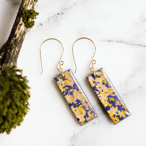 Violet and Gold Flake Japanese Paper Earrings - No Man's Land Artifacts