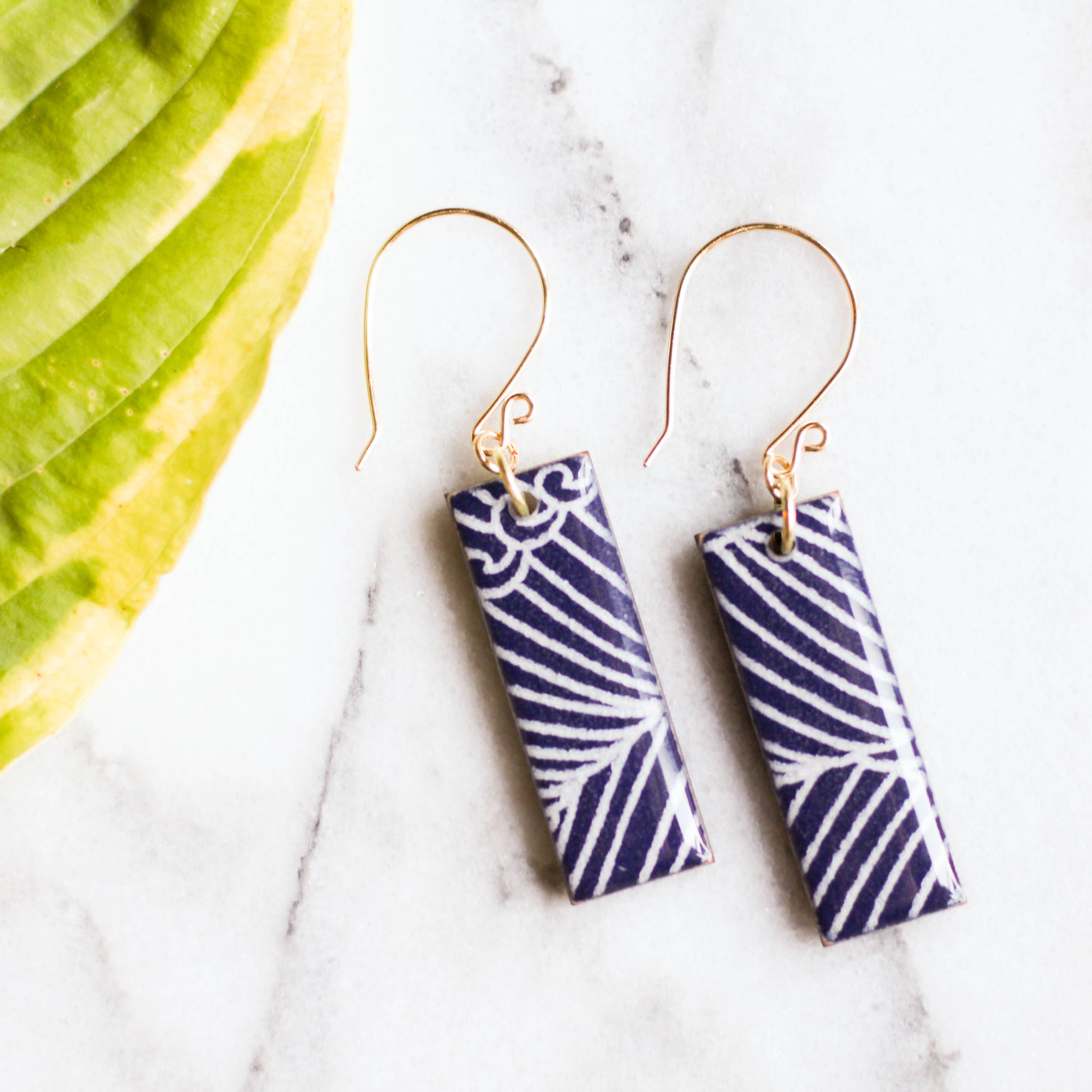 Navy Wave Japanese Paper Earrings - No Man's Land Artifacts