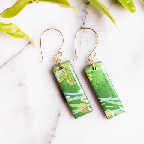 Bright Green and Gold Japanese Paper Earrings - No Man's Land Artifacts