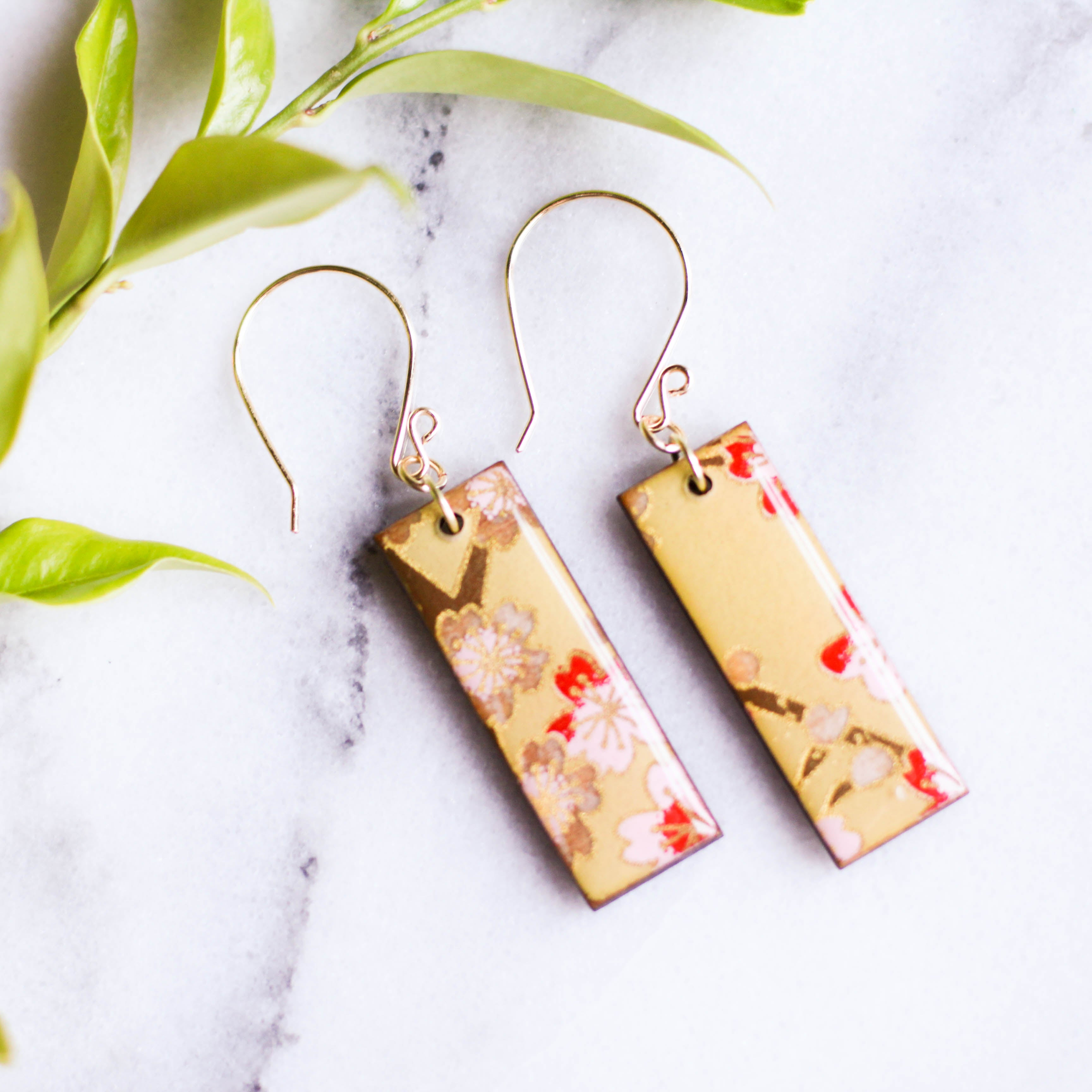 Pale Pear Green Cherry Blossom Japanese Paper Earrings - No Man's Land Artifacts