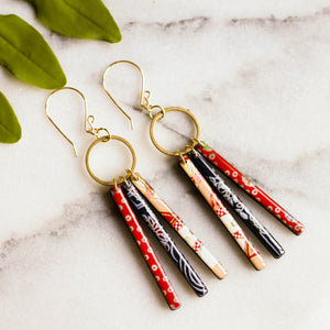 Japanese Collage Fringe Earrings... Red & Blue - No Man's Land Artifacts