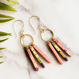 Japanese Collage Petite Fringe Earrings... Pink & Purple - No Man's Land Artifacts