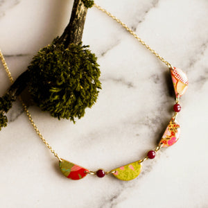 Japanese Collage Swag Necklace... Magenta