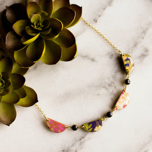 Japanese Collage Swag Necklace... Plum