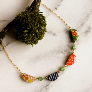 Japanese Collage Swag Necklace... Bright Green