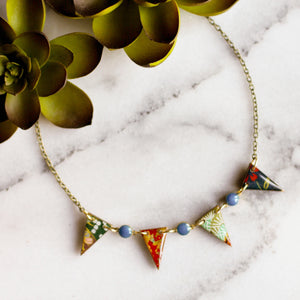 Japanese Paper Pennant Necklace... Turquoise