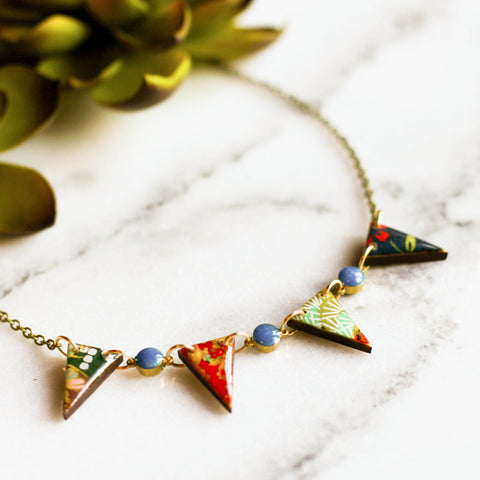 Japanese Paper Pennant Necklace... Turquoise - No Man's Land Artifacts