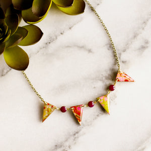 Japanese Paper Pennant Necklace... Magenta