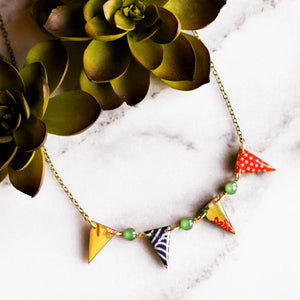 Japanese Paper Pennant Necklace... Bright Green - No Man's Land Artifacts