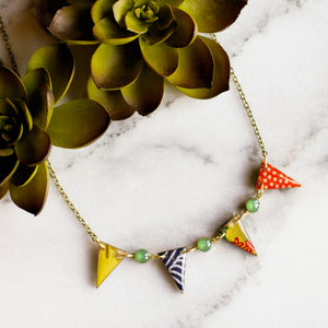 Japanese Paper Pennant Necklace... Bright Green