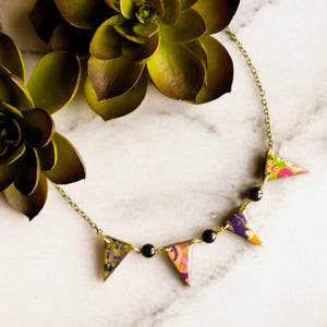 Japanese Paper Pennant Necklace... Plum - No Man's Land Artifacts