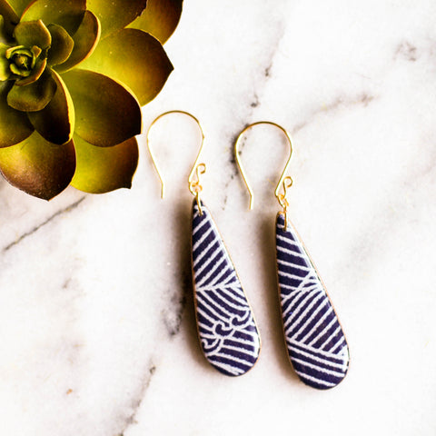 Teardrop Navy Wave Earrings - No Man's Land Artifacts