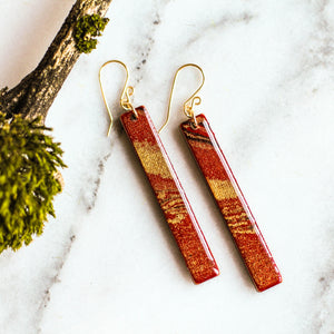 Red and Gold Marble Bar Earrings - No Man's Land Artifacts
