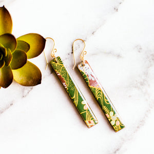 Deep Green & Gold Bar Earrings - No Man's Land Artifacts