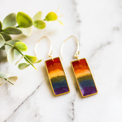 Rainbow Rectangle Brass Earrings - No Man's Land Artifacts