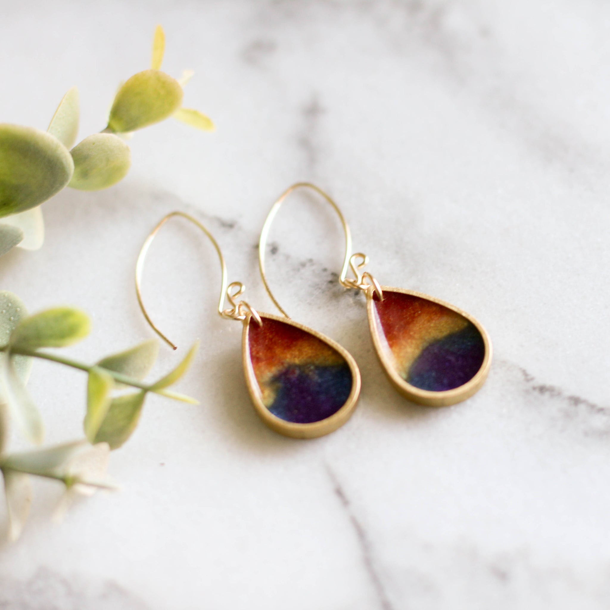 Rainbow Raindrop Brass Earrings - No Man's Land Artifacts