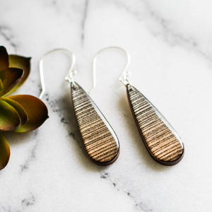 Silver + Gold Metallic Ombre Teardrop Earrings