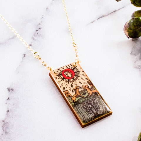 Vintage Italian Tarot Moon Necklace