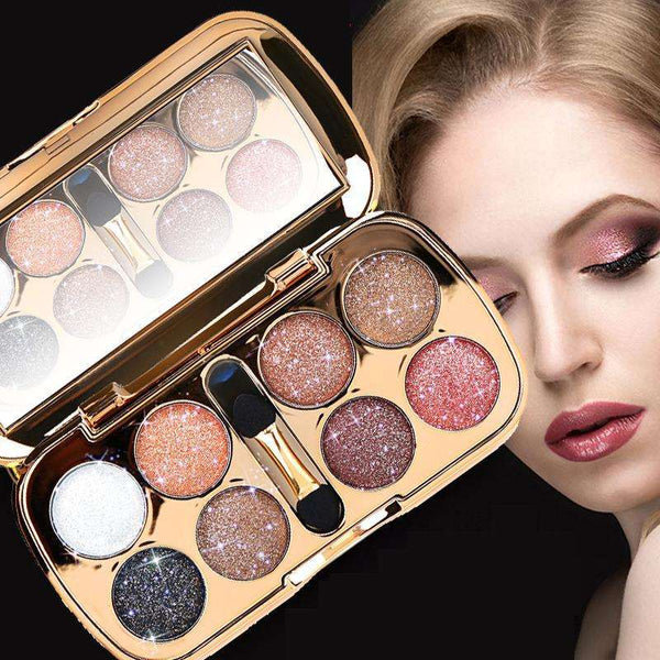 Beauty - New Smoky Eye Shadow  Waterproof 8 Color Pigment Mineral Powder Shiny Glitter Eyeshadow Palette