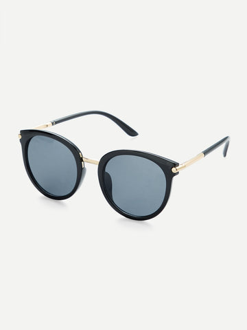 Image of Two Tone Frame Flat Lens Sunglasses