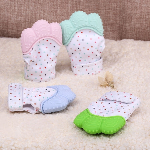 Baby Colorful Soothing Teething Pain Relief Gloves Mittens with Secure Adjustable Strap