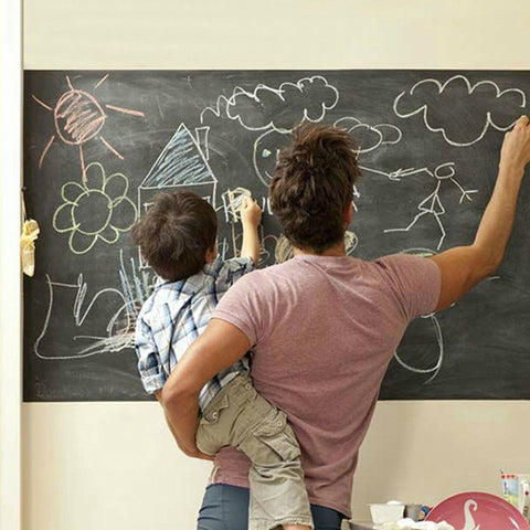 Image of Package Creative Blackboard Wall Stickers With 5 Chalks