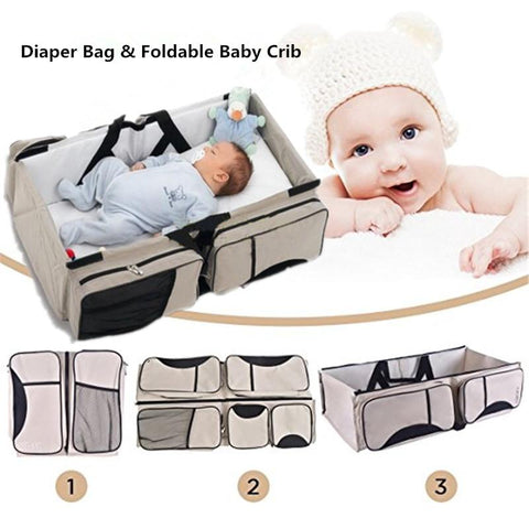 Image of 3 in 1 Portable Infant Baby Bassinet Diaper Bag Changing Station Nappy Travel Navy Blue