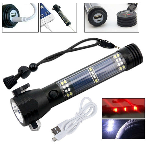 I keep this 10 in 1 Multifunction Rechargeable Solar Powerful LED Flashlight in my car