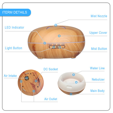 AC 100-240V Large Capacity Ultrasonic Aroma Diffuser Air Humidifier with 7 Colors LED Lights