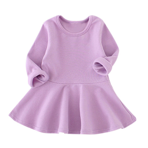 Image of Baby Girls Candy Color Long Sleeve Solid Princess Casual Dress