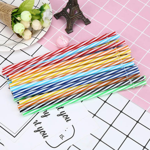 Image of 25 PCs Reusable Biodegradable Color Beverage Hard Plastic drinking Straws