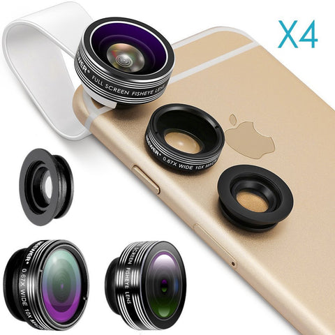 Neewer 4 Pieces 3-in-1 Clip-on Lens Kit for Tablet, iPad, for iPhone, Samsung Galaxy and Smartphones