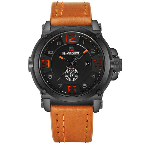 Mens Watches Naviforce Militray Sport Quartz Leather Waterproof Wristwatches