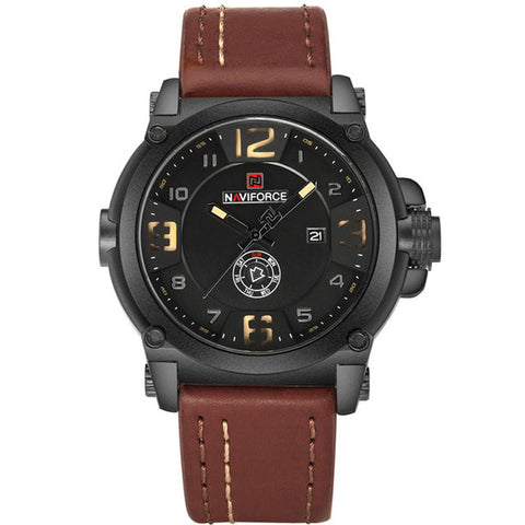 Image of Mens Watches Naviforce Militray Sport Quartz Leather Waterproof Wristwatches