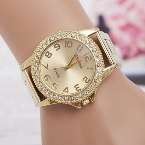 Image of Fashion Classic Women Watch Luxury Crystal Stainless Steel Watches Quartz